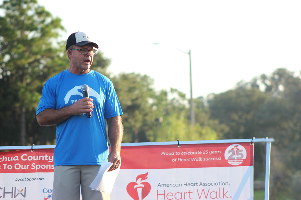 CHW Professional Consultants Founder Rory Causseaux speaking at the 2018 Alachua County Heart Walk