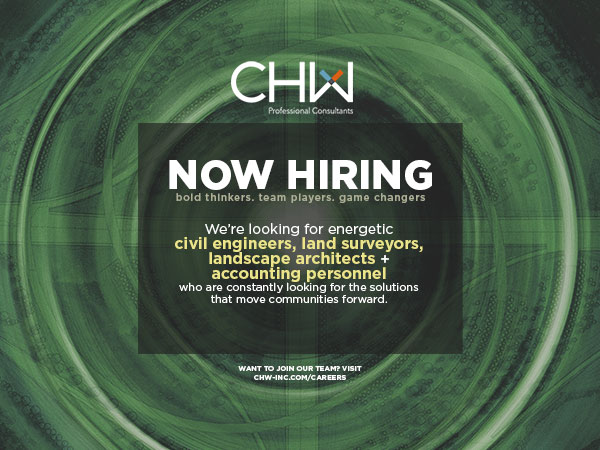 CHW Now hiring civil engineers, landscape architects, land surveyors, and controller