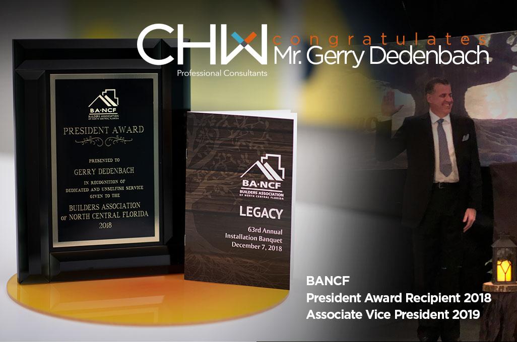 Gerry Dedenbach BANCF President Award Recipient 2018, Associate Vice President 2019