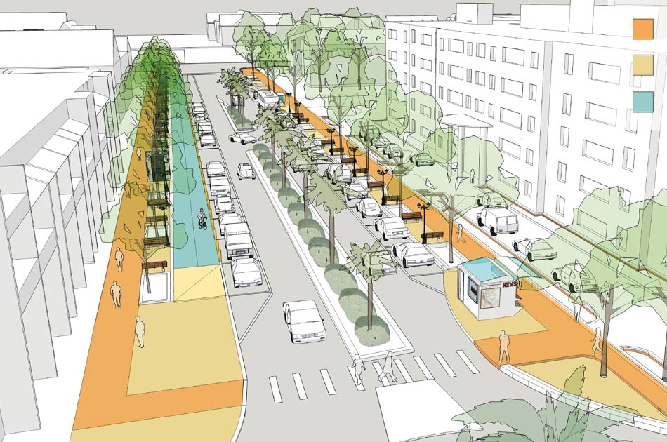 CHW Provided landscape architecture and urban design services for the SW 2nd Avenue & SW 4th Ave Streetscape