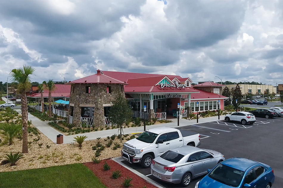 Bahama Breeze in Gainesville, Florida. CHW provided landscape architecture services for this project.