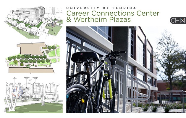 Images and Renders of the CCC and Werheim Plazas at the University of Florida in Gainesville