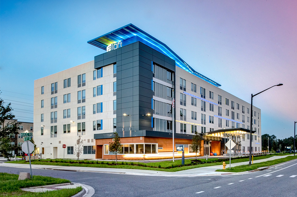 Picture of the Aloft Hotel in Gainesville, Florida. CHW provided construction services for this project.