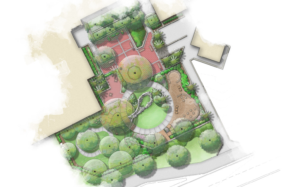 Render of UF Health Nature Explore Garden in Gainesville, FL; CHW provided landscape architecture services