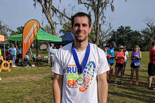 CHW civil engineer Mitchell Mason at the Marion County Run for the Springs event in 2019