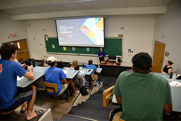 CHW civil engineer presenting at the Intro to Civil Engineering class at the University of Florida