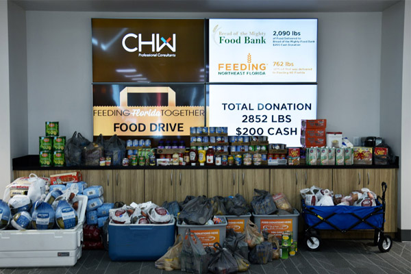 CHW Donation to the 2019 Food Drive benefiting Bread of the Mighty Food bank and Feeding Northeast Florida